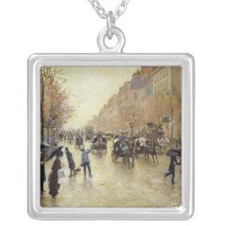 Bulevar Poissonniere en la lluvia, c.1885 Collares