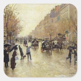 Bulevar Poissonniere en la lluvia, c.1885 Pegatina Cuadradas Personalizadas