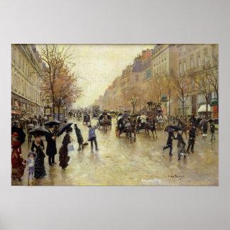 Bulevar Poissonniere en la lluvia, c.1885 Póster