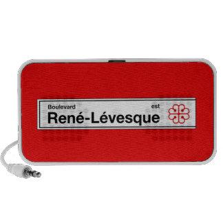 Bulevar Rene-Levesque, placa de calle de Montreal Portátil Altavoz