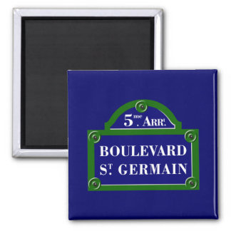Bulevar Santo-Germán, placa de calle de París Imán Cuadrado