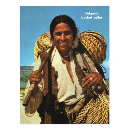 Bulgaria, basket seller postcard
