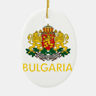 Bulgaria Coat of Arms Double-Sided Oval Ceramic Christmas Ornament