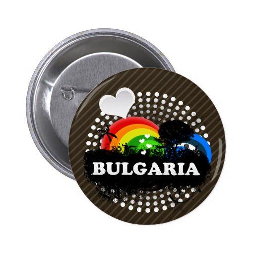 Bulgaria con sabor a fruta linda pin redondo de 2 pulgadas