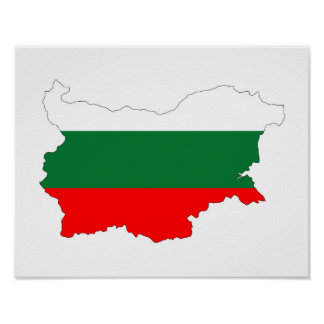 bulgaria country flag map shape silhouette symbol poster