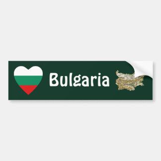 Bulgaria Flag Heart + Map Bumper Sticker Car Bumper Sticker