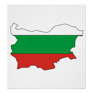 Bulgaria Flag Map full size Print