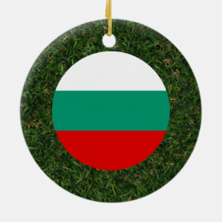 Bulgaria Flag on Grass Double-Sided Ceramic Round Christmas Ornament