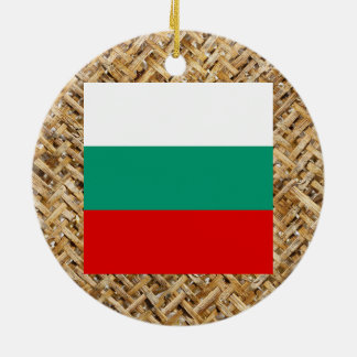 Bulgaria Flag on Textile themed Double-Sided Ceramic Round Christmas Ornament
