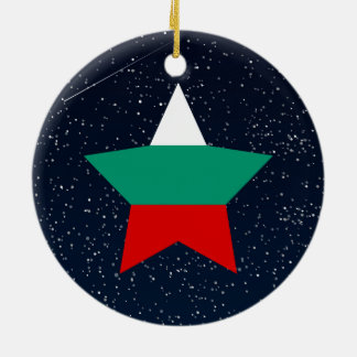 Bulgaria Flag Star In Space Double-Sided Ceramic Round Christmas Ornament