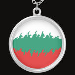 Bulgaria Gnarly Flag Silver Plated Necklace