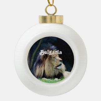 Bulgaria Lion Ceramic Ball Christmas Ornament
