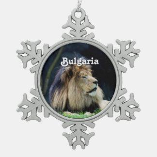 Bulgaria Lion Snowflake Pewter Christmas Ornament