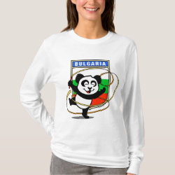 Women's Basic Long Sleeve T-Shirt with Bulgarian Rhythmic Gymnastics Panda design