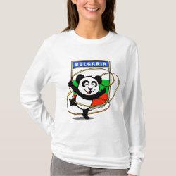Women's Basic Long Sleeve T-Shirt with Bulgarian Rhythmic Gymnastics Panda design