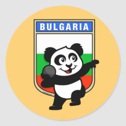 Round Sticker with Bulgarian Shot Put Panda design