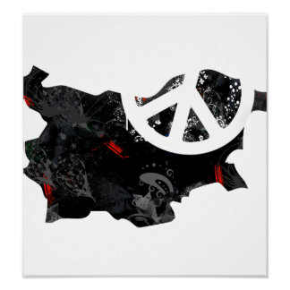 Bulgaria Trendy Peace Sign with Bulgarian map Posters