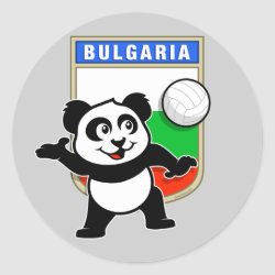 Round Sticker with Bulgaria Volleyball Panda design