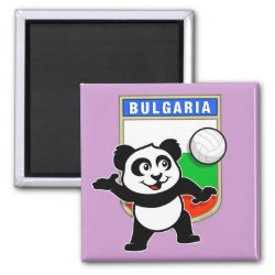 Square Magnet with Bulgaria Volleyball Panda design