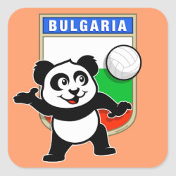 Square Sticker with Bulgaria Volleyball Panda design