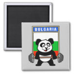 Bulgaria Weightlifting Panda 2 Inch Square Magnet