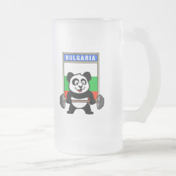 Frosted Glass Mug with Bulgarian Weightlifting Panda design