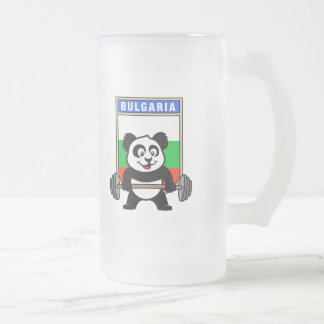 Bulgaria Weightlifting Panda Frosted Glass Beer Mug