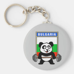 Basic Button Keychain with Bulgarian Weightlifting Panda design