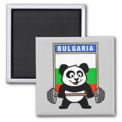 Square Magnet with Bulgarian Weightlifting Panda design
