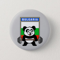 Round Button with Bulgarian Weightlifting Panda design