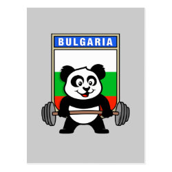 Postcard with Bulgarian Weightlifting Panda design