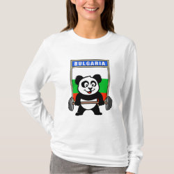 Women's Basic Long Sleeve T-Shirt with Bulgarian Weightlifting Panda design