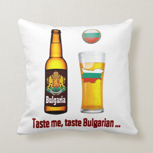 Bulgarian beer throw pillow