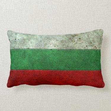 Bulgarian Flag Aged Steel Effect Throw Pillow