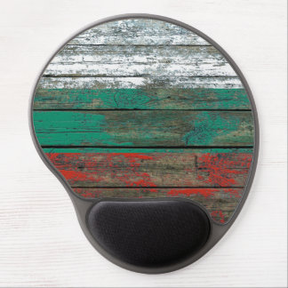 Bulgarian Flag on Rough Wood Boards Effect Gel Mouse Pad