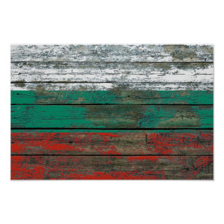 Bulgarian Flag on Rough Wood Boards Effect Poster