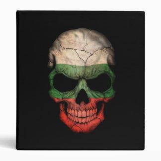 Bulgarian Flag Skull on Black 3 Ring Binders