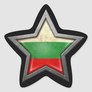 Bulgarian Flag Star on Black Star Sticker