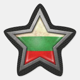 Bulgarian Flag Star with Steel Mesh Effect Star Sticker