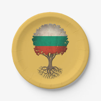 Bulgarian Flag Tree of Life Customizable 7 Inch Paper Plate