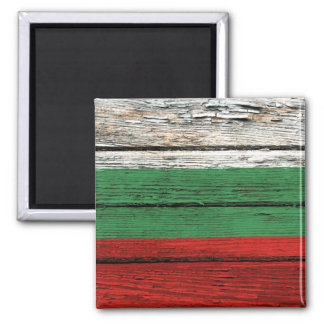 Bulgarian Flag with Rough Wood Grain Effect 2 Inch Square Magnet