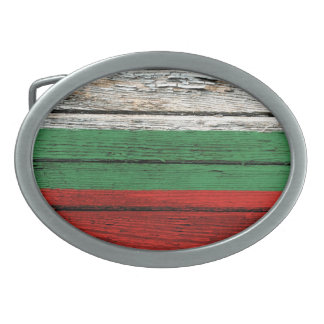 Bulgarian Flag with Rough Wood Grain Effect Belt Buckle