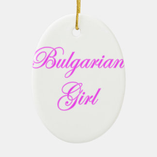 Bulgarian Girl Double-Sided Oval Ceramic Christmas Ornament