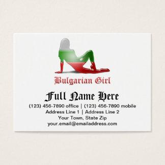 Bulgarian Girl Silhouette Flag Business Card