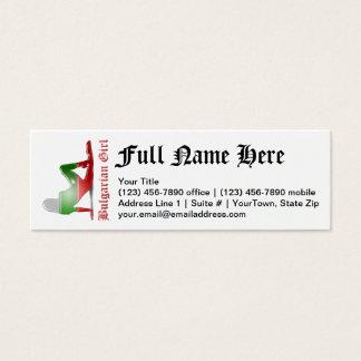 Bulgarian Girl Silhouette Flag Mini Business Card