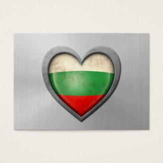 Bulgarian Heart Flag Stainless Steel Effect Business Card