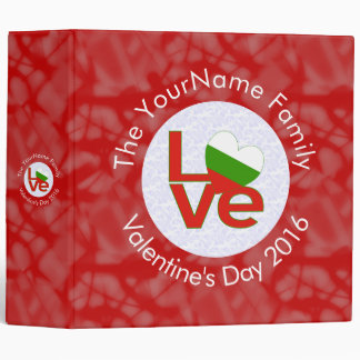 Bulgarian LOVE White on Red Binder