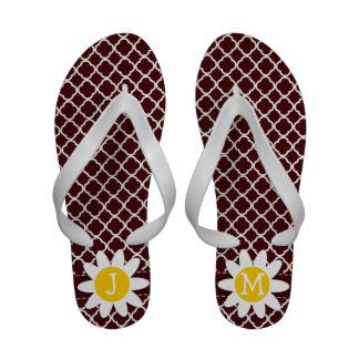 Bulgarian Rose Quatrefoil Daisy Flip-Flops