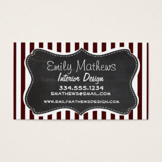 Bulgarian Rose Stripes; Striped; Chalkboard Business Card