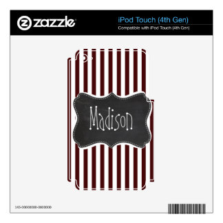 Bulgarian Rose Stripes; Striped; Chalkboard iPod Touch 4G Decals